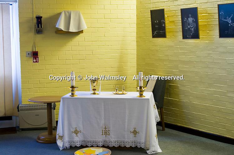 Alter  in the school Chapel.  Roman Catholic State secondary school.