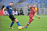 Henrikh Mkhitaryan of Roma and Milan Skriniar of Inter during the Serie A football match between AS Roma and FC Internazionale at Olimpico stadium in Roma (Italy), January 10th, 2021. Photo Andrea Staccioli / Insidefoto