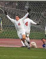 Eric Edwards celebrating after a goal during Ohio State's upset victory over University California Santa Barbara in the 3rd round of the 2007 NCAA tournament.