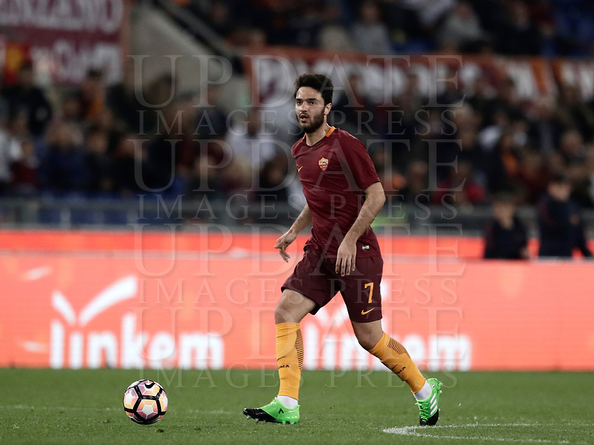 Calcio, Serie A: Roma, stadio Olimpico, 1 aprile, 2017.<br /> Roma's Clément Grenier in action during the Italian Serie A football match between Roma and Empoli at Olimpico stadium, April 1, 2017<br /> UPDATE IMAGES PRESS/Isabella Bonotto