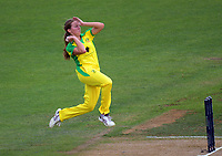 Australia's Georgia Wareham bowls during the 2nd international women's T20 cricket match between the New Zealand White Ferns and Australia at McLean Park in Napier, New Zealand on Tuesday, 30 March 2021. Photo: Dave Lintott / lintottphoto.co.nz