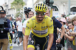 Yellow Jersey Julian Alaphilippe (FRA) Deceuninck-Quick Step heads to sign on before the start of Stage 14 of the 2019 Tour de France running 117.5km from Tarbes to Tourmalet Bareges, France. 20th July 2019.<br /> Picture: Colin Flockton | Cyclefile<br /> All photos usage must carry mandatory copyright credit (© Cyclefile | Colin Flockton)