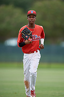 GCL Phillies East center fielder Julio Francisco (17) jogs back to the dugout during a game against the GCL Blue Jays on August 10, 2018 at Carpenter Complex in Clearwater, Florida.  GCL Blue Jays defeated GCL Phillies East 8-3.  (Mike Janes/Four Seam Images)