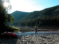 Stopping at a side creek along Alaska's Fortymile River to try a little fishing.