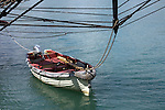 A dingy boat tied up to the US Brig Niagara dock in Port Washington Wisconsin