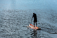 Man boarding on paddleboard, Cape Cod, Massachusetts, USA.