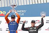Scott Dixon, Chip Ganassi Racing Honda, Robert Wickens, Schmidt Peterson Motorsports Honda celebrate on the podium