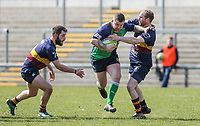 Saturday 13th April 2019 | Ballynahinch 4 vs Banbridge 3<br /> <br /> James Gillespie fends off Stephen Cowan during the Crawford Cup final between Ballynahinch and Banbridge at Kingspan Stadium, Ravenhill Park, Belfast, Northern Ireland.  Photo by John Dickson / DICKSONDIGITAL
