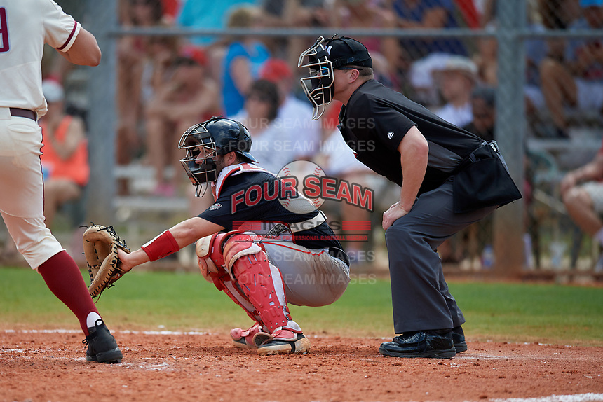 Umpire Justin Bertsche and Ball State Cardinals catcher Chase Sebby (20) during a game against the Saint Joseph's Hawks on March 9, 2019 at North Charlotte Regional Park in Port Charlotte, Florida.  Ball State defeated Saint Joseph's 7-5.  (Mike Janes/Four Seam Images)