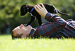 """No Repro Fee.<br /> PJ Gallagher, pictured with 12 week old puppy """"Heath"""" at the launch of the Pedigree Adoption Drive. Last year over 15,000 dogs were either seized or surrendered to dog authorities, with 5,867 rehomed directly, and 6,013 transferred to welfare groups. The aim of the Pedigree Adoption Drive is to encourage dog lovers to consider giving these dogs healthy happy homes and this year Pedigree has launched a €40,000 grants system which aims to deliver even bigger tangible benefits to shelters in need. Pic. Robbie Reynolds"""