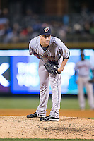 Scranton\Wilkes-Barre RailRiders relief pitcher Danny Burawa (38) looks to his catcher for the sign against the Charlotte Knights at BB&T BallPark on May 1, 2015 in Charlotte, North Carolina.  The RailRiders defeated the Knights 5-4.  (Brian Westerholt/Four Seam Images)
