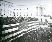 President James A. Garfield takes the Oath of Office during his Inauguration ceremony on March 4, 1881.<br /> <br /> Photo by Architect of the Capitol photographers.