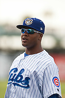 Pitcher Ty'Relle Harris #99 of the Daytona Cubs before the game against the Tampa Yankees at Jackie Robinson Ballpark on April 19, 2012 in Daytona Beach, Florida. (Scott Jontes / Four Seam Images)