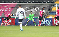 1st May 2021; Liberty Stadium, Swansea, Glamorgan, Wales; English Football League Championship Football, Swansea City versus Derby County; Tom Lawrence of Derby County heads the ball to score his sides first goal for 0-1 in the 48th minute