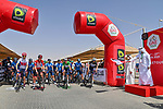 The start of Stage 3 of the 2021 UAE Tour running 166km from Al Ain to Jebel Hafeet, Abu Dhabi, UAE. 23rd February 2021.  <br /> Picture: LaPresse/Gian Mattia D'Alberto | Cyclefile<br /> <br /> All photos usage must carry mandatory copyright credit (© Cyclefile | LaPresse/Gian Mattia D'Alberto)