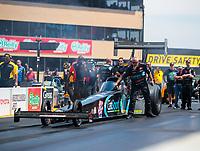 Jul 29, 2018; Sonoma, CA, USA; Crew member for NHRA top fuel driver Scott Palmer during the Sonoma Nationals at Sonoma Raceway. Mandatory Credit: Mark J. Rebilas-USA TODAY Sports