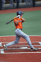 Leyton Barry (19) of the UTSA Roadrunners follows through on his swing against the Charlotte 49ers at Hayes Stadium on April 18, 2021 in Charlotte, North Carolina. (Brian Westerholt/Four Seam Images)
