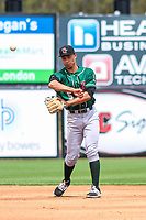Great Lakes Loons second baseman Marcus Chiu (5) throws to first base during a Midwest League game against the Wisconsin Timber Rattlers on May 12, 2018 at Fox Cities Stadium in Appleton, Wisconsin. Wisconsin defeated Great Lakes 3-1. (Brad Krause/Four Seam Images)