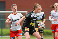 Loes Van Mullem (33) of Eendracht Aalst and Amber De Priester (6) of Zulte Waregem  pictured during a female soccer game between SV Zulte - Waregem and Eendracht Aalst on the 9 th matchday in play off 2 of the 2020 - 2021 season of Belgian Scooore Womens Super League , saturday 22 nd of May 2021  in Zulte , Belgium . PHOTO SPORTPIX.BE   SPP   DIRK VUYLSTEKE