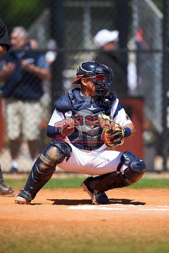 FDU-Florham Devils catcher Diego Espinosa (31) throws the ball back to the pitcher during the first game of a doubleheader against the Farmingdale State Rams on March 15, 2017 at Lake Myrtle Park in Auburndale, Florida.  Farmingdale defeated FDU-Florham 6-3.  (Mike Janes/Four Seam Images)