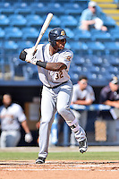 Charleston RiverDogs right fielder Jhalan Jackson (36) awaits a pitch during game one of a double header against the Asheville Tourists at McCormick Field on July 8, 2016 in Asheville, North Carolina. The RiverDogs defeated the Tourists 10-4 in game one. (Tony Farlow/Four Seam Images)