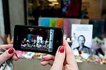 Apple store Regent street London. Memorial to Steve Jobs who died October 5th 2011.