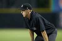 Umpire Kenny Jackson handles the calls at first base during the game between the Johnson City Cardinals and the Burlington Royals at Burlington Athletic Stadium on September 4, 2019 in Burlington, North Carolina. The Cardinals defeated the Royals 8-6 to win the 2019 Appalachian League Championship. (Brian Westerholt/Four Seam Images)