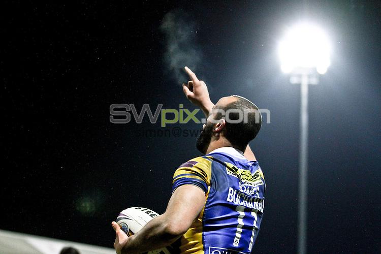 PICTURE BY ALEX WHITEHEAD/SWPIX.COM - Rugby League - World Club Challenge 2013 - Leeds Rhinos vs Melbourne Storm - Headingley Stadium, Leeds, England - 22/02/13 - Leeds' Jamie Jones-Buchanan celebrates his try.