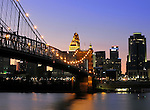 Roebling Suspension Bridge and downtown Cincinnati, Ohio.