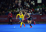 Australia's Stephanie Kershaw and NZ's Stacey Michelsen compete for the ball during the Sentinel Homes Trans Tasman Series hockey match between the New Zealand Black Sticks Women and the Australian Hockeyroos at Massey University Hockey Turf in Palmerston North, New Zealand on Tuesday, 1 June 2021. Photo: Dave Lintott / lintottphoto.co.nz
