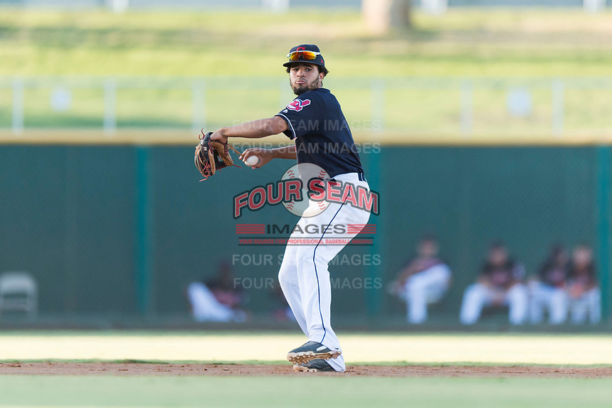 AZL Indians 1 shortstop Marcos Gonzalez (1) throws to first base during an Arizona League playoff game against the AZL Rangers at Goodyear Ballpark on August 28, 2018 in Goodyear, Arizona. The AZL Rangers defeated the AZL Indians 1 7-4. (Zachary Lucy/Four Seam Images)