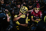 Egan Bernal (COL) Team Ineos wins the overall general classification Yellow Jersey hugs his girlfriend at the end of Stage 21 of the 2019 Tour de France running 128km from Rambouillet to Paris Champs-Elysees, France. 28th July 2019.<br /> Picture: ASO/Pauline Ballet   Cyclefile<br /> All photos usage must carry mandatory copyright credit (© Cyclefile   ASO/Pauline Ballet)