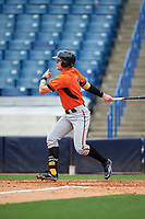 Seth Beer (11) of Lambert High School in Suwanee, Georgia playing for the Baltimore Orioles scout team during the East Coast Pro Showcase on July 28, 2015 at George M. Steinbrenner Field in Tampa, Florida.  (Mike Janes/Four Seam Images)