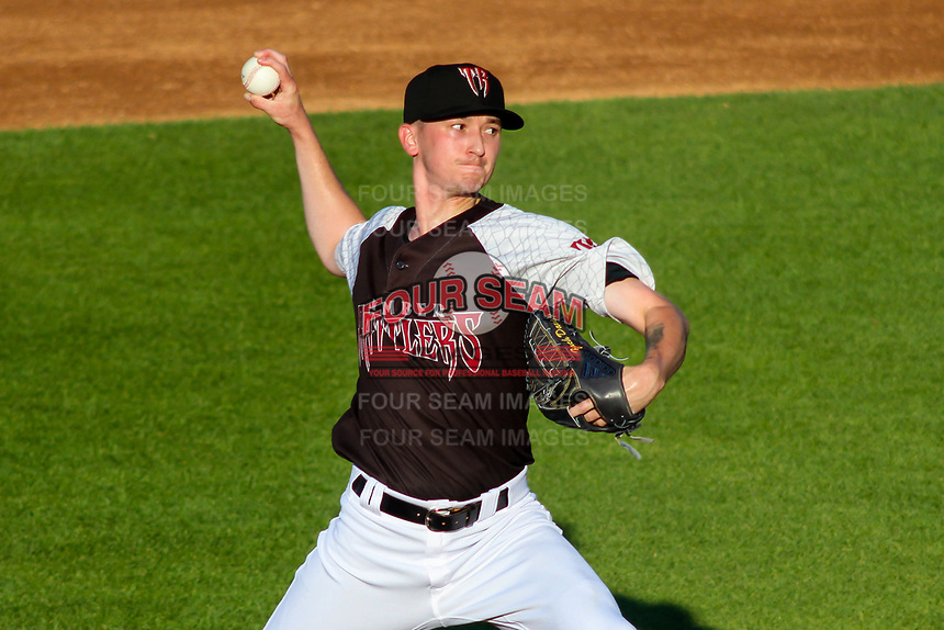 Milwaukee Brewers pitcher Zach Davies (1) delivers a pitch during a rehab outing with the Wisconsin Timber Rattlers in a Midwest League game against the Clinton LumberKings on June 29, 2018 at Fox Cities Stadium in Appleton, Wisconsin. Clinton defeated Wisconsin 9-7. (Brad Krause/Four Seam Images)