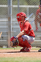 GCL Cardinals catcher Joe Freiday (49) waits to receive a pitch during a game against the GCL Mets on August 6, 2018 at Roger Dean Chevrolet Stadium in Jupiter, Florida.  GCL Cardinals defeated GCL Mets 6-3.  (Mike Janes/Four Seam Images)
