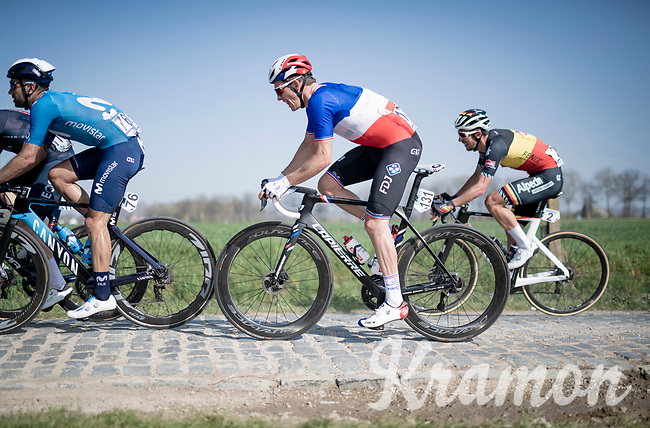 French champion Arnaud Démare (FRA/Groupama - FDJ) on the Varentstraat cobbles alongside Belgian champion Dries De Bondt (BEL/Alpecin-Fenix)<br /> <br /> 76th Dwars door Vlaanderen 2021 (MEN1.UWT)<br /> 1 day race from Roeselare to Waregem (184km)<br /> <br /> ©kramon