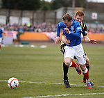 Dean Shiels fouled in the box by Dougie Brydon for a penalty kick