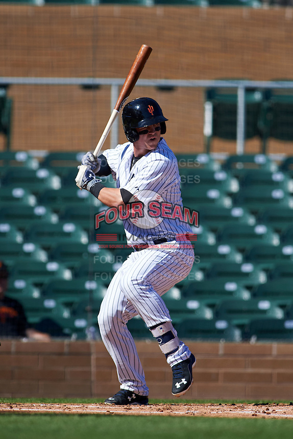 Surprise Saguaros first baseman Tyler Austin (20) at bat during an Arizona Fall League game against the Glendale Desert Dogs on October 23, 2015 at Salt River Fields at Talking Stick in Scottsdale, Arizona.  Glendale defeated Surprise 9-6.  (Mike Janes/Four Seam Images)