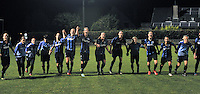 20130906 - VARSENARE , BELGIUM : Brugge pictured celebrating their win over The Hague during the female soccer match between Club Brugge Vrouwen and ADO DEN HAAG Dames , of the third matchday in the BENELEAGUE competition. Friday 06 th September 2013. PHOTO JOKE VUYLSTEKE