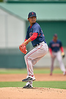 FCL Red Sox pitcher Chih-Jung Liu (58) during a game against the FCL Pirates on July 1, 2021 at Pirate City in Bradenton, Florida.  (Mike Janes/Four Seam Images)