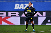 Alexis Sanchez of FC Internazionale reacts after failed a penalty during the Serie A football match between UC Sampdoria and FC Internazionale at stadio Marassi in Genova (Italy), January 6th, 2021. <br /> Photo Daniele Buffa/Image Sport / Insidefoto