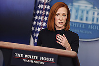 White House Press Secretary Jen Psaki talks to reporters during the daily press briefing in the Brady Press Briefing Room of the White House on Monday, March 1, 2021 in Washington, DC.<br /> Credit: Oliver Contreras / Pool via CNP /MediaPunch