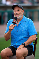 Actor Corbin Bernsen, who stared in the movie Major League, does an on field interview before a Rochester Red Wings International League game against the Pawtucket Red Sox on June 28, 2019 at Frontier Field in Rochester, New York.  Pawtucket defeated Rochester 8-5.  (Mike Janes/Four Seam Images)