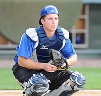 Catcher Ryan Casteel (7) of the Asheville Tourists, a Colorado Rockies affiliate, prior to a game against the Greenville Drive on May 14, 2012, at Fluor Field at the West End in Greenville, South Carolina. Asheville won, 11-6. (Tom Priddy/Four Seam Images)