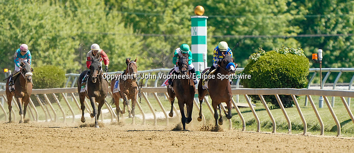 May 15, 2021 : The King Cheek, #1, ridden by jockey Jaime Rodriguez, wins the Sir Barton Stakes on Preakness Stakes Day at Pimlico Race Track in Baltimore, Maryland on May 15, 2021. John Voorhees/Eclipse Sportswire/CSM