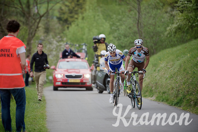 Christophe Riblon (FRA/AG2R-La Mondiale) & Preben Van Hecke (BEL/Topsport Vlaanderen-Baloise) up the 'steepest climb' in Holland: Keutenberg (22%)<br /> No fans are allowed on the climb.<br /> <br /> Amstel Gold Race 2014