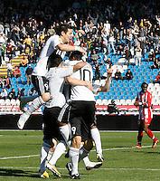 Milan Smiljanic of Partizan Belgrade, center, celebrate his goal, during the Serbian League soccer match in Belgrade, Serbia, Saturday, October  24, 2010. (Srdjan Stevanovic/Starsportphoto.com)