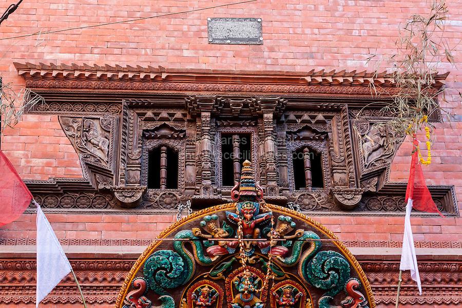 Nepal, Kathmandu.  Recently Reconstructed Hindu Temple, Tunal Devi Dyochen, Dedicated to Vaisnavi, Female Counterpart to Shiva.