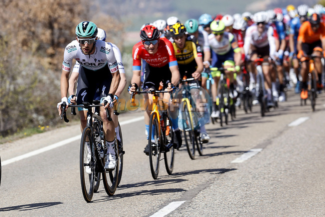 Ben Zwiehoff (GER) Bora-Hansgrohe in the peloton during Stage 5 of the 100th edition of the Volta Ciclista a Catalunya 2021, running 201.1km from La Pobla de Segur to Manresa, Spain. 26th March 2021.   <br /> Picture: Bora-Hansgrohe/Luis Angel Gomez/BettiniPhoto | Cyclefile<br /> <br /> All photos usage must carry mandatory copyright credit (© Cyclefile | Bora-Hansgrohe/Luis Angel Gomez/BettiniPhoto)