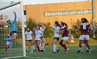 NWA Democrat-Gazette/ANDY SHUPE<br /> Arkansas players watch as Vanderbilt goal keeper Kaitlyn Farhner reaches to deflect a shot Thursday, Oct. 6, 2016, during the first half of play at Razorback Field in Fayetteville. Visit nwadg.com/photos to see more photographs from the game.